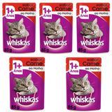 Ração Úmida Pedigree Whiskas Sachê Para Gatos Castrados Sabor Carne Kit Com 5 Unidades 85g