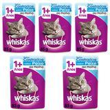 Ração Úmida Pedigree Whiskas Sachê Para Gatos Castrados Sabor Peixe Kit Com 5 Unidades 85g