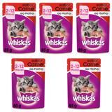 Ração Úmida Pedigree Whiskas Sachê Para Gatos Filhotes Sabor Carne Kit Com 5 Unidades 85g