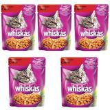 Ração Úmida Pedigree Whiskas Sachê Para Gatos Sabor Carne Kit Com 5 Unidades 85g