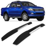 Rack de Teto Longarina Ford Ranger CD 2013 a 2019 Bepo Executive Preto 2 Peças Ótimo Acabamento