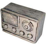 Radio decorativo de resina prata - Btc decor