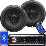 Rádio Mp3 Automotivo Bluetooth Fm Usb RS-2606BR + Par Alto Falante Roadstar 6,5 Pol 130W Rms RS-165