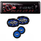 Radio Mp3 Player Pioneer Mvh-298bt Bluetooth Usb e Kit Tsr Orion Alto Falantes 6 E 6x9 Pol Combo 220w Rms - Pioneer / orion