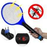Raquete Elétrica Mata Moscas Mosquito Pernilongo Recarregavel Azul - Prime