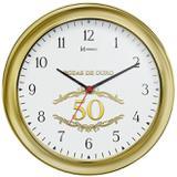 Relógio de parede analógico bodas de ouro decorativo herweg dourado