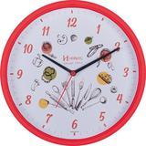 Relógio de parede analógico decorativo ideal para cozinha herweg vermelho