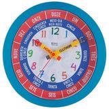 Relógio de parede analógico decorativo infantil criança fala as horas herweg turquesa
