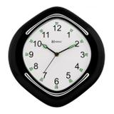 Relógio de parede analógico iluminação noturna fluorescente herweg preto