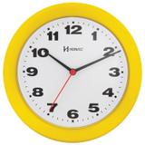 Relógio de parede analógico moderno mecanismo step tic tac herweg amarelo