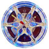 Relógio De Parede Com Iluminação Roda De Carro Vermelha - Versare anos dourados