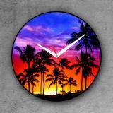Relógio de parede decorativo, criativo e descolado  Pôr do sol e coqueiros - Colours  creative photo decor