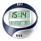 Relogio de parede digital com termometro, calendario e alarme oval - Represent