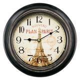 Relógio de Parede em Metal Preto Paris Vintage 23cm - Mart