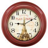 Relógio de Parede em Metal Vermelho Paris Vintage 23cm - Mart