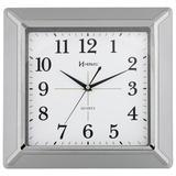 Relógio de parede moderno analógico com detlahes cromado e visor de vidro herweg prata