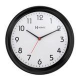Relógio de parede moderno analógico redondo mecanismo step herweg preto
