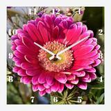 Relógio de Parede para Cozinha Flor Margarida Rosa 30x30cm - Decore pronto