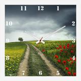 Relógio de Parede Personalizado Paisagem Campo Papoulas 30x30cm - Decore pronto