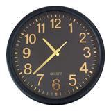 Relógio De Parede Preto/Dourado Decorativo Redondo 35x4CM - Mart Collection 09399