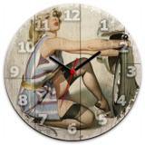 Relógio de Parede Retrô Pin-Up - Pneu. - Yaay