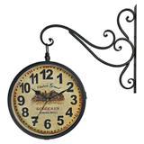Relógio de Parede Retrô Vintage Estação Ferroviária Decoração Dupla Face Bordeaux 1971 - R3p import