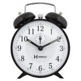 Relogio despertador mecanico classico com som campainha preto herweg