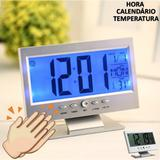 Relógio digital acionamento sonoro despertador PRATA CBRN01439 - Commerce brasil