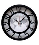 Relógio Parede Preto Mapa-Múndi 30x30cm - Produtos infinity presentes