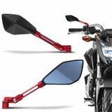 Retrovisor Moto Esportivo Similar Rizoma Tomok Vermelho Todo Aluminio Espelho Azul  Par - St