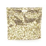 Sacolas Gift para Presentes com Ziper Metalizado Arabesco Dourado e Branco P Cromus