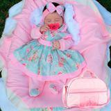 Saída de Maternidade Charmosa Rosa P + Bolsa Maternidade Lacinho M - Sônia enxovais