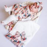 Saida Maternidade Manga Longa 3 Peças Malha e Viko Palha, Salmão e Verde Laço Floral - Tieloy baby