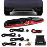 Sensor de Estacionamento 4 Pontos KX3 Universal Cinza com Display LED Black Piano Slim Colorido