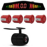 Sensor de Estacionamento 4 Pontos Vermelho Display LED + Câmera de Ré Borboleta Colorida Preta - Prime