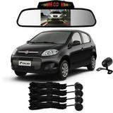 Sensor Estacionamento + Espelho Camera Ré Fiat Palio Preto - Overvision