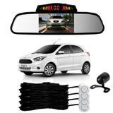 Sensor Estacionamento + Espelho Camera Ré Ford Ka Branco - Overvision