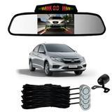Sensor Estacionamento + Espelho Camera Ré Honda City Prata - Overvision