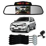 Sensor Estacionamento + Espelho Camera Ré Renault Clio Prata - Overvision