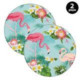 Sousplat Mdecore Flamingo 32x32cm Azul
