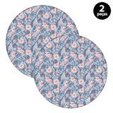 Sousplat Mdecore Floral 32x32cm Azul