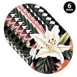 Sousplat Mdecore Floral 32x32cm Preto