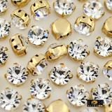 Strass Costura - Dourado Cristal - SS12 / 3mm - 100 un - Tok bijouxs