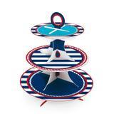 Suporte para Doces e Cupcakes 3 andares Navy Marinheiro Cromus