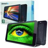 Tablet Amvox Tela 7 8GB Quad Core Android 4.4 Wifi 3G ATB 440 Câmera Frontal e Traseira Preto