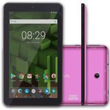 "Tablet Bravva Quad Plus 8GB, Tela 7"", 3G, Android 7.1, Processador Quad Core 1.2GHz,   Rosa"