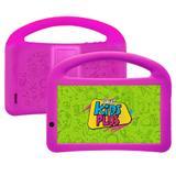 """Tablet DL Kids Plus 7"""" 1GB/8GB WiFi - Preto - C/ Capa com alca e suporte rosa TX398PCR"""