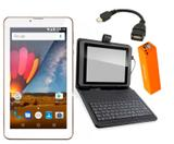 Tablet Dourado 3G Capa com Teclado + Power Bank + Cabo OTG - Multilaser