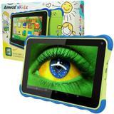 Tablet Infantil Kids Amvox Tela 7 8GB Quad Core Android 4.4 Wifi 3G Educativo ATB 441K Verde Azul