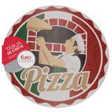 Tábua de Cortar e Servir de Vidro Redonda Pizza Euro 35cm FH13015 - Euro home